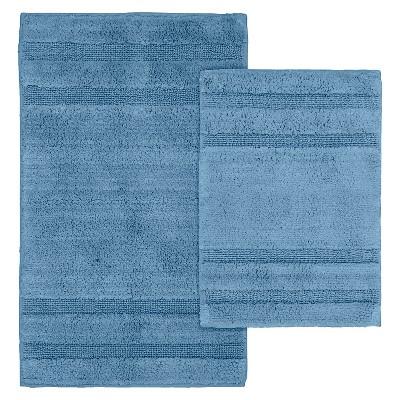 Garland 2 Piece Majesty Cotton Washable Bath Rug Set - Sky Blue