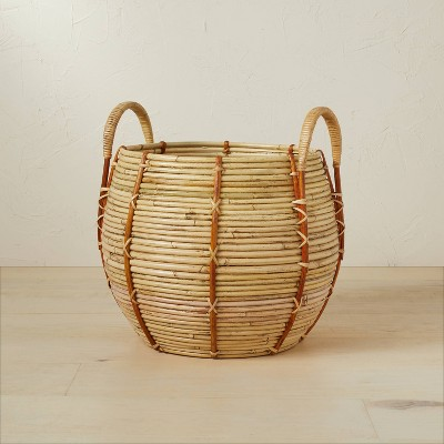 """14"""" x 13"""" Round Rattan Basket with Handle Natural - Opalhouse™ designed with Jungalow™"""