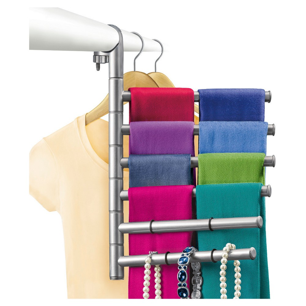 Image of Lynk Hanging Pivoting Scarf Rack and Accessory Holder - Closet Hanger Organizer Rack - Platinum