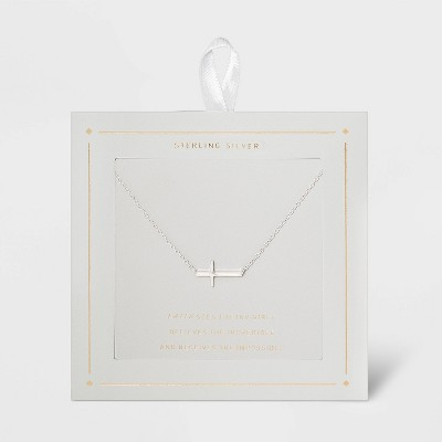 Sterling Silver Horizontal Cross Station Necklace - Silver
