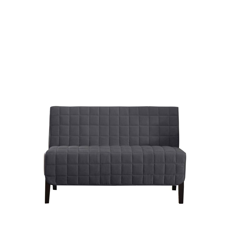 Deep Pile Velvet Armless Loveseat Furniture Protector Gray Surefit