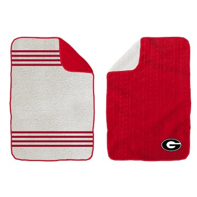 NCAA Georgia Bulldogs Cable Knit Embossed Logo with Sherpa Stripe Throw Blanket