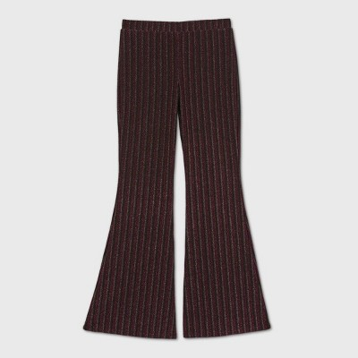 Girls' Lurex Knit Striped Flare Pants - art class™ Red