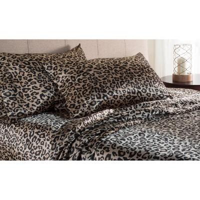 Luxury Satin 100% Polyester Woven Printed Sheet Set King Leopard