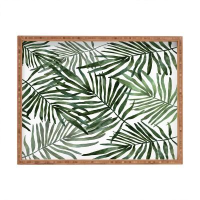 Marta Barragan Camarasa Watercolor Simple Leaves Rectangular Bamboo Tray - Deny Designs