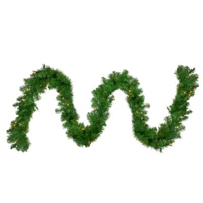 "Northlight 9' x 10"" Pre-Lit Windsor Pine Artificial Christmas Garland - Clear Lights"