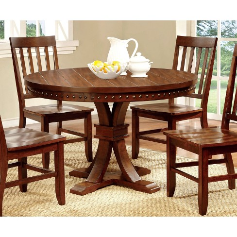 Sun Pine Nail Head Trimmed Pedestal Round Dining Table Wood Dark