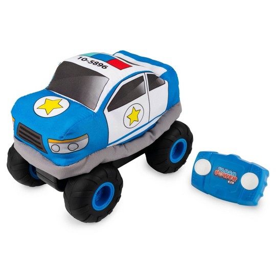 Plush Power RC Remote Control Police Car with Soft Body and 2-Way Steering image number null