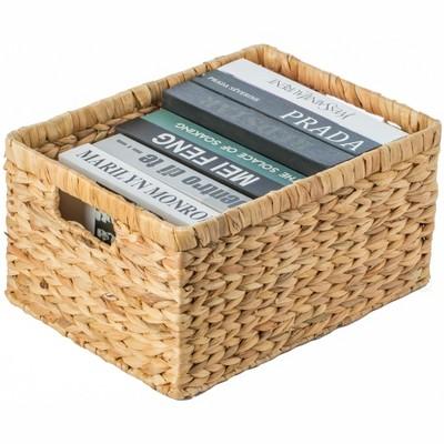 Vintiquewise Natural Woven Water Hyacinth Wicker Rectangular Storage Bin Basket with Handles, Large