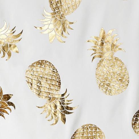 Pineapple Toss Shower Curtain Gold
