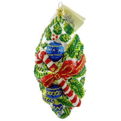 Larry Fraga Boughs Of Holly Ornament Christmas Candy Cane  -  Tree Ornaments