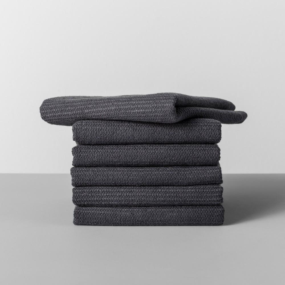 Image of 6pk Terry Dishcloth Dark Gray - Made By Design