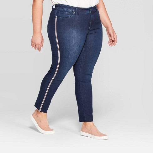 Women's Plus Size Side Striped Mid-Rise Skinny Jeans - Universal Thread™ Dark Blue - image 1 of 3