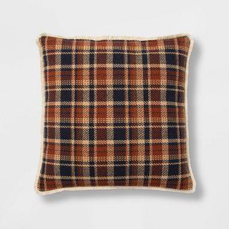 Oversize Square Woven Plaid Pillow Blue - Threshold™