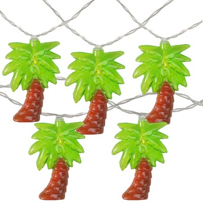 Northlight 10ct Battery Operated Palm Tree Summer LED String Lights Warm White - 4.5' Clear Wire