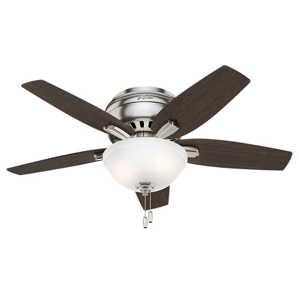 """Image of """"42"""""""" Newsome Brushed Nickel Ceiling Fan with Light - Hunter Fan"""""""