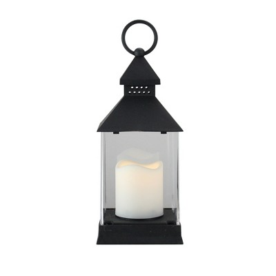 "Northlight 9.5"" Black Candle Lantern with Flameless LED Candle Tabletop Decor"