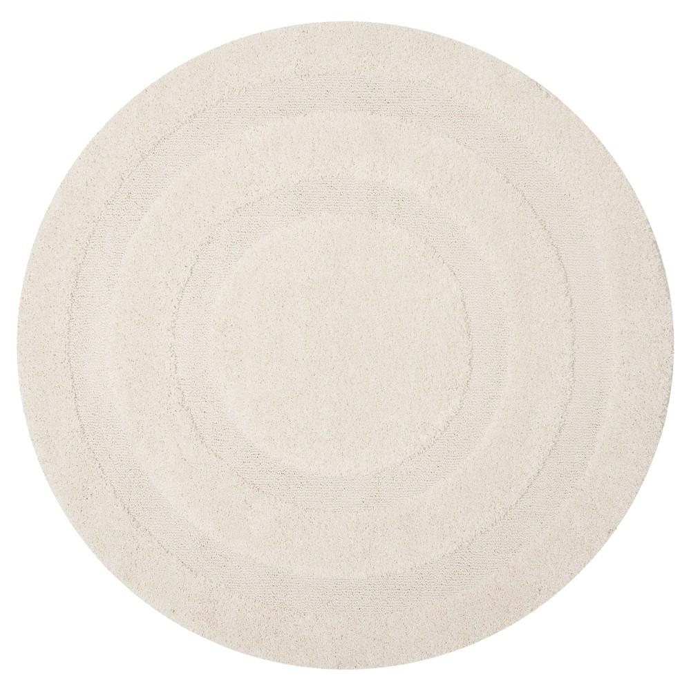 Creme Abstract Shag/Flokati Loomed Round Area Rug - (6'7 Round) - Safavieh