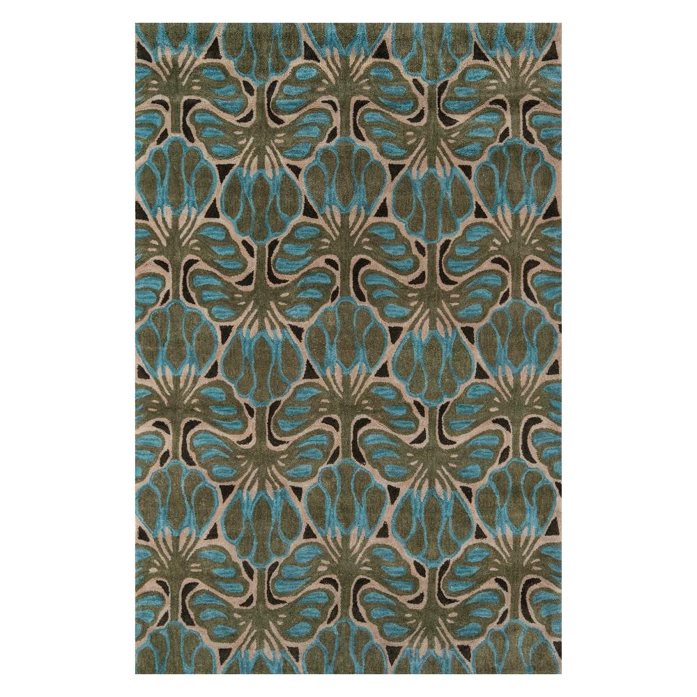 5'X7'6 Floral Tufted Area Rug Teal (Blue) - Momeni