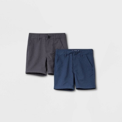 Toddler Boys' 2pk Woven Quick Dry Chino Shorts - Cat & Jack™ Heather Black/Navy