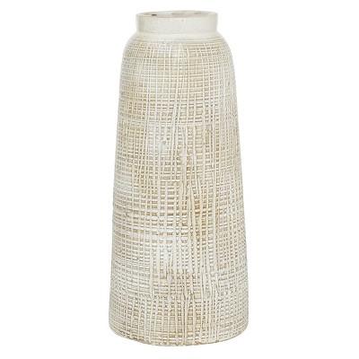 "17"" x 7.5"" Terracotta Vase White - Olivia & May"
