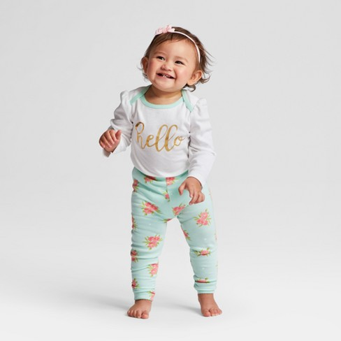 ddcf55bd78435 Baby Girls' 3pc Floral Bodysuit, Pants and Headwrap Set Cloud Island™ - Mint/White  18M : Target