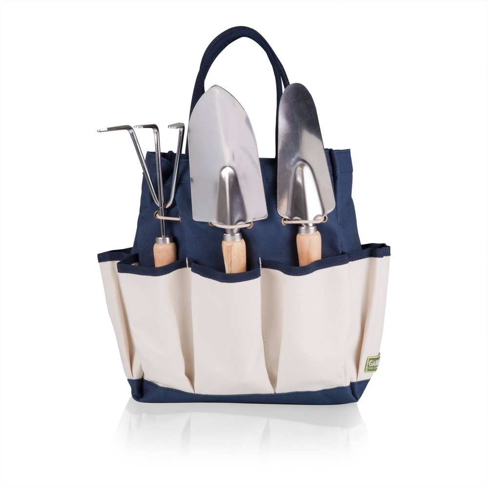 Image of 3 Pc Garden Tote Large - Navy/Cream With Tools - Picnic Time