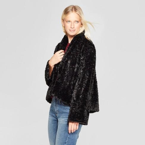 706439f90bb6 Women s Long Sleeve Faux Fur Fuzzy Jacket - Xhilaration™ Black XXL ...