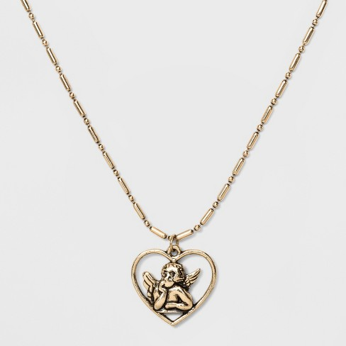Heart Framed 3D Cupid Pendant Necklace - Wild Fable™ Gold - image 1 of 2