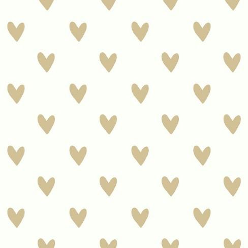 RoomMates Heart Spot Peel & Stick Wallpaper Gold : Target