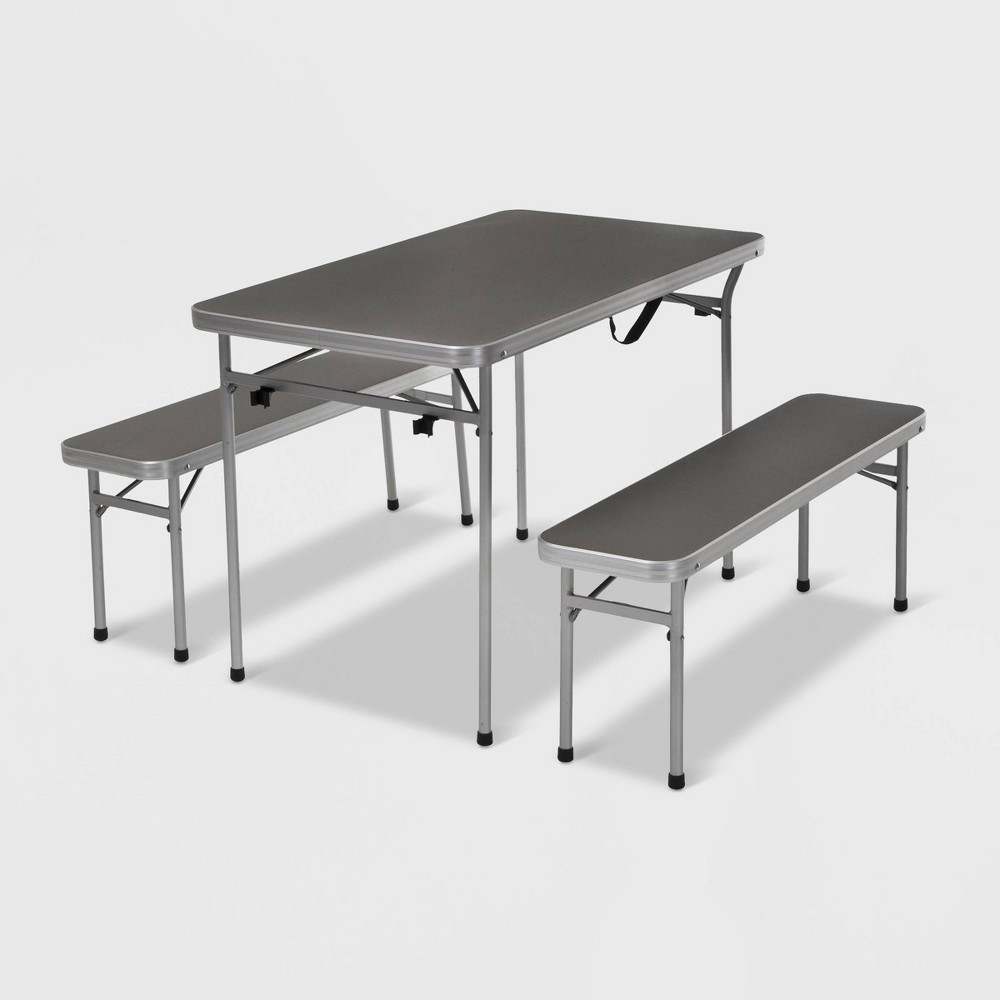 Image of Cosco 3ct Aluminum Patio Folding Table and Bench Set