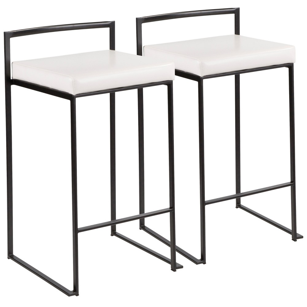 Fuji 26 In Contemporary Stackable Counter Stool Black with White Faux Leather Cushion (Set of 2) - Lumisource