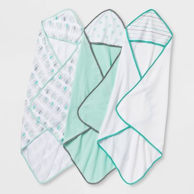 Baby 3pk Little Peanut Hooded Bath Towel - Cloud Island™ Mint Green/White