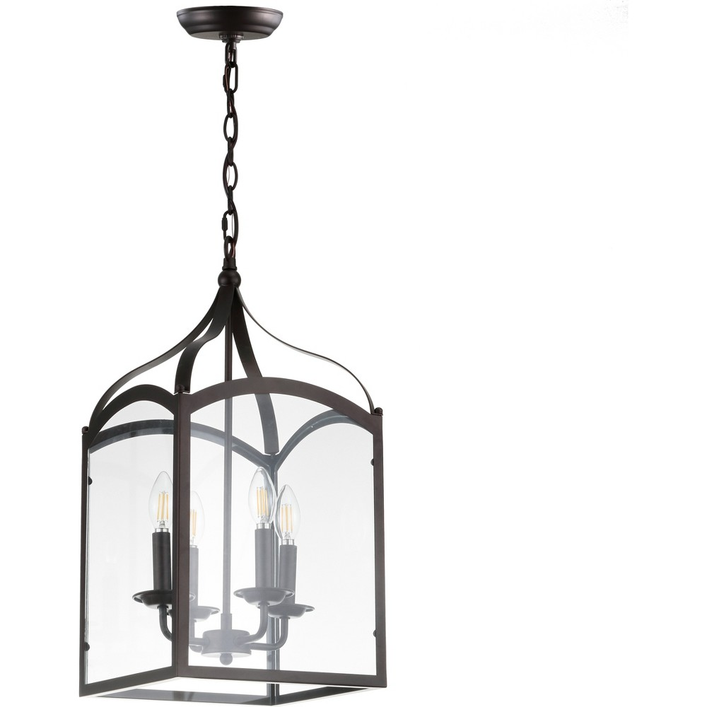 "Image of ""11"""" Ruth 4 Light Lantern Metal/Glass LED Pendant Ceiling Light Bronze - JONATHAN Y"""