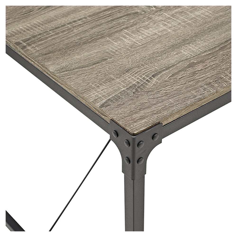 48 Angle Iron and Wood Trestle Style Dining Table - Driftwood (Brown) - Saracina Home