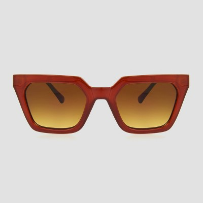 Women's Angular Rectangle Sunglasses - A New Day™ Brown
