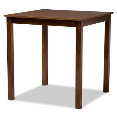 Lenoir Wood Square Counter Height Pub Table Walnut - Baxton Studio