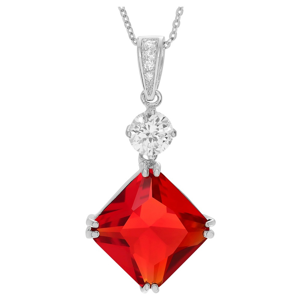 57 2/5 CT. T.W. Square-cut CZ Basket Set Pendant Necklace in Sterling Silver - Red, Girl's