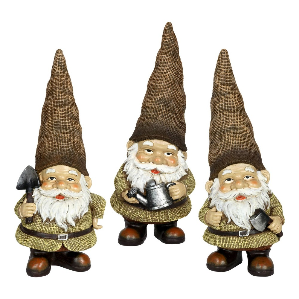 Compare Resin Burlap Buddies Gnome Set - Exhart