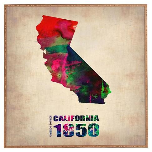 Naxart California Watercolor Map Framed Wall Art Target