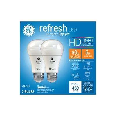 General Electric 2pk 40W Ca Refresh LED Light Bulb Long Life Dimming