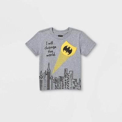 Toddler Boys' Batman 'Change The World' Short Sleeve Pocket T-Shirt - Gray