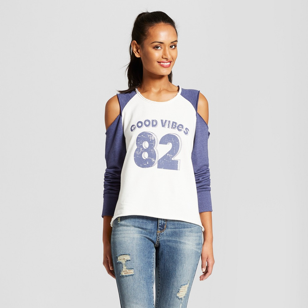 Women's Good Vibes 82 Pullover Raglan Graphic Sweatshirt - Grayson Threads (Juniors') White XS, Beige