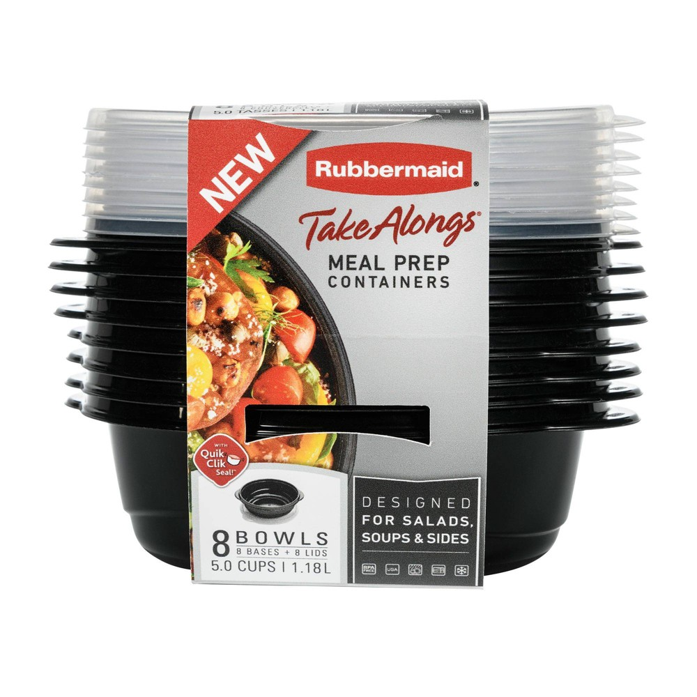 Image of Rubbermaid 16pc TakeAlongs Meal Prep Containers Set, Black Clear