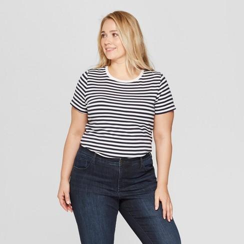 73319c3e388 Women s Plus Size Striped Short Sleeve Crew Neck T-Shirt - Ava   Viv™  Black White