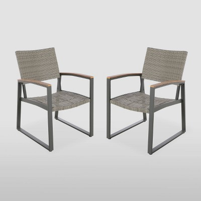 Glasgow 2Pk Wicker Dining Chairs - Gray - Christopher Knight Home
