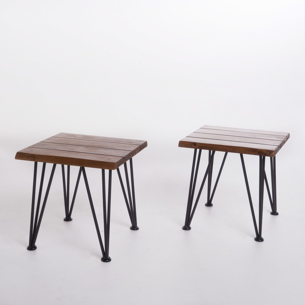 Zion Set of 2 Industrial Side Table - Teak (Brown)/Rustic Metal - Christopher Knight Home