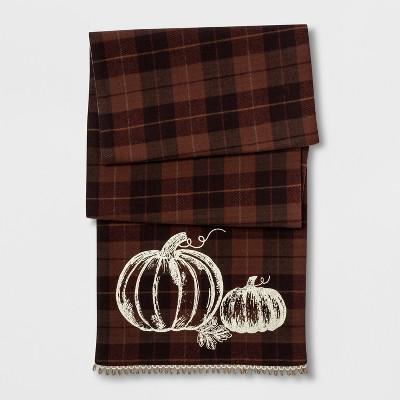 72 x14  Harvest Pumpkin Plaid Runner Brown - Threshold™