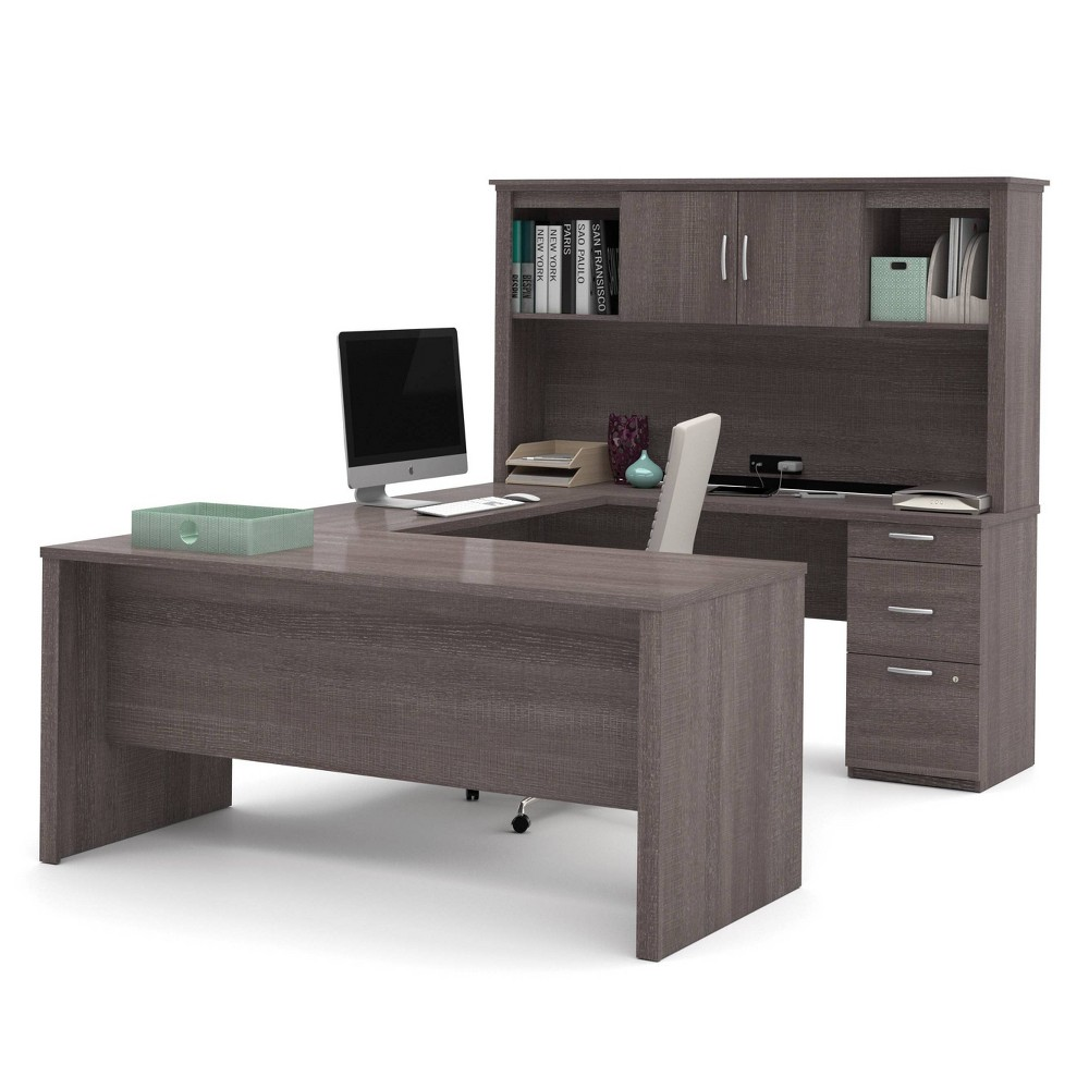 Image of Logan U Shaped Desk Bark Gray - Bestar, Brown Gray