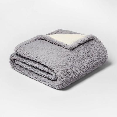 Solid Sherpa Throw Blanket Gray - Threshold™